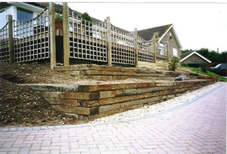 another view of a railway sleeper wall