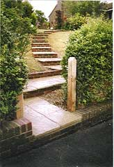 very effective set of steps rising up a very steep bank